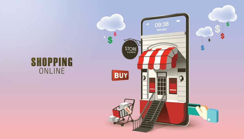 Shopping Online on Website or Mobile Application Vector Concept
