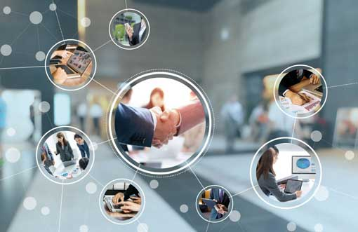 business networking and information technology concept