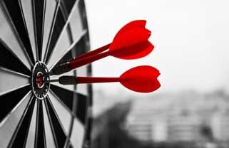 business strategy concept with dartboard